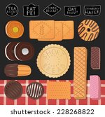 sweet set with biscuits and... | Shutterstock .eps vector #228268822