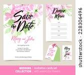 vector set of invitation cards... | Shutterstock .eps vector #228306496