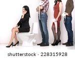 line of diverse people standing ... | Shutterstock . vector #228315928