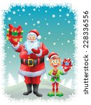 santa claus and elf holding...   Shutterstock . vector #228336556