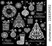christmas decoration set   lots ... | Shutterstock .eps vector #228339352