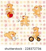 wallpaper with stuffed bear... | Shutterstock .eps vector #228372736