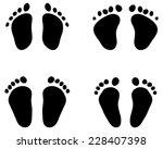 Black Footprints Of Baby  Vector