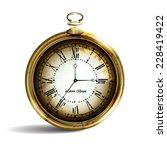 vintage gold pocket watch on... | Shutterstock .eps vector #228419422