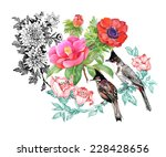 birds on branch with flowers on ... | Shutterstock . vector #228428656