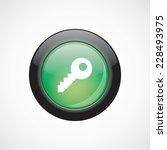 key glass sign icon green shiny ...