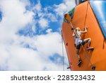 Girl Doing Rock Climbing On...