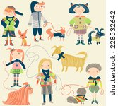 children and their dogs | Shutterstock .eps vector #228532642