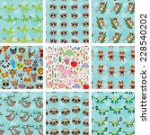 Set Of 9 Seamless Pattern With...