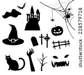 haloween icon set vector