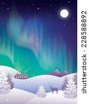 winter landscape with aurora.  | Shutterstock .eps vector #228588892