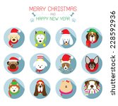 flat icons set    christmas ... | Shutterstock .eps vector #228592936