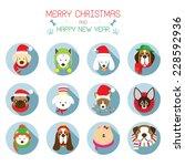 Flat Icons Set    Christmas ...
