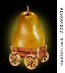 Small photo of Ripe pears.fruit on a rustic wain on black background
