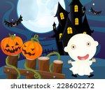 cartoon halloween scene  ... | Shutterstock . vector #228602272