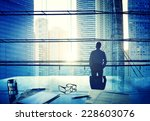 city scape businessman thinking ... | Shutterstock . vector #228603076