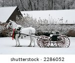 horse statue and carriage - stock photo