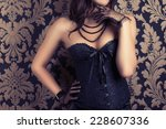 woman wearing black corset and... | Shutterstock . vector #228607336