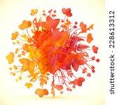 watercolor painted orange... | Shutterstock . vector #228613312