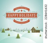 christmas landscape with... | Shutterstock .eps vector #228641632