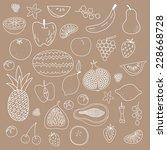 fruit hand drawn vector pattern | Shutterstock .eps vector #228668728