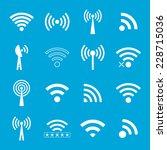 set of white wifi icons on blue ... | Shutterstock .eps vector #228715036