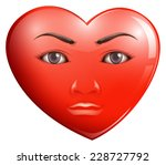 a heart with a face on a white... | Shutterstock .eps vector #228727792