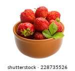 strawberry in the bowl with leaf | Shutterstock . vector #228735526