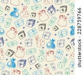 gift doodles seamless pattern | Shutterstock .eps vector #228759766