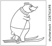 cute hand drawn bear with a ski | Shutterstock .eps vector #228761698