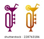trumpet like martini cocktail... | Shutterstock .eps vector #228763186