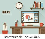 interior of working place... | Shutterstock .eps vector #228785002