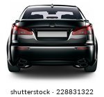 Rear View Of Black Sedan Car...