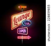 neon sign. lounge bar | Shutterstock .eps vector #228859855