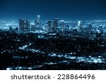 los angeles at night with urban ... | Shutterstock . vector #228864496