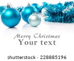 christmas card with blue balls... | Shutterstock . vector #228885196