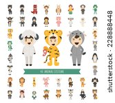set of 40 animal costume... | Shutterstock .eps vector #228888448