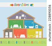 home rooms colors. house... | Shutterstock .eps vector #228890056