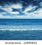 Blue water landscape - stock photo