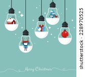 modern christmas card flat ... | Shutterstock .eps vector #228970525