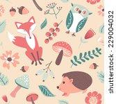 autumn forest  woodland animals ... | Shutterstock .eps vector #229004032