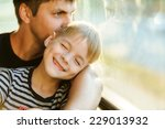 father and son in a public... | Shutterstock . vector #229013932