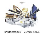 vector interior sketch design... | Shutterstock .eps vector #229014268