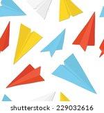 paper planes seamless texture. | Shutterstock .eps vector #229032616