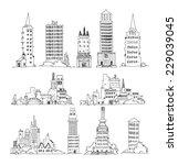 business office buildings set   ... | Shutterstock .eps vector #229039045