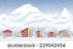 mountain ski resort in winter | Shutterstock .eps vector #229042456