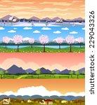 Four Seasons Landscape Cartoon...
