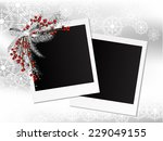 silver garland with bow and... | Shutterstock .eps vector #229049155