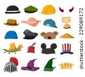 funny cartoon hat set   vector... | Shutterstock .eps vector #229089172