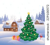 vector illustration of a snowy... | Shutterstock .eps vector #229100572
